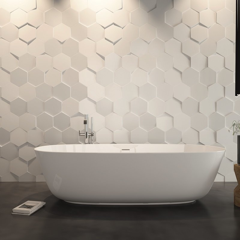 hexa carrelage 3d wow noir ou blanc 21 5cm x 25cm