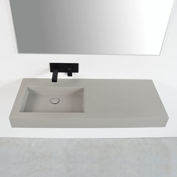 plan vasque suspendu en r sine couleur b ton anthracite blanc. Black Bedroom Furniture Sets. Home Design Ideas