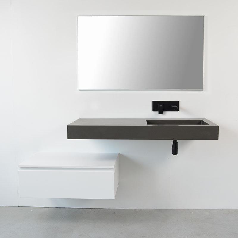 Ensemble meuble salle bain décalé avec vasque suspendue droite