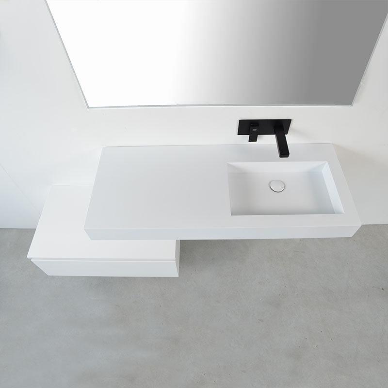 Ensemble Meuble Salle Bain Decale Avec Vasque Suspendue Droite