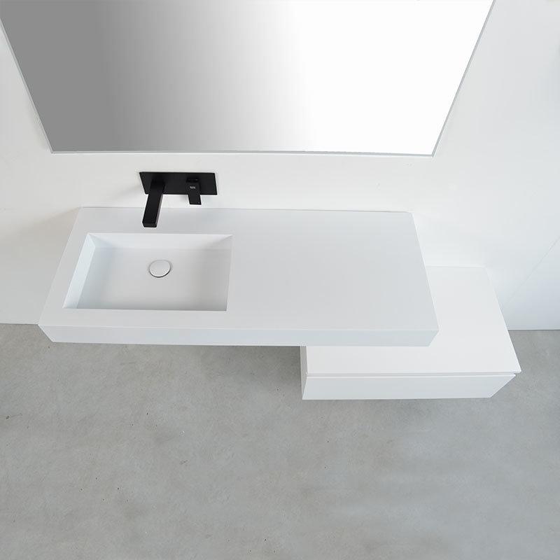 Ensemble meuble salle bain décalé avec vasque suspendue gauche