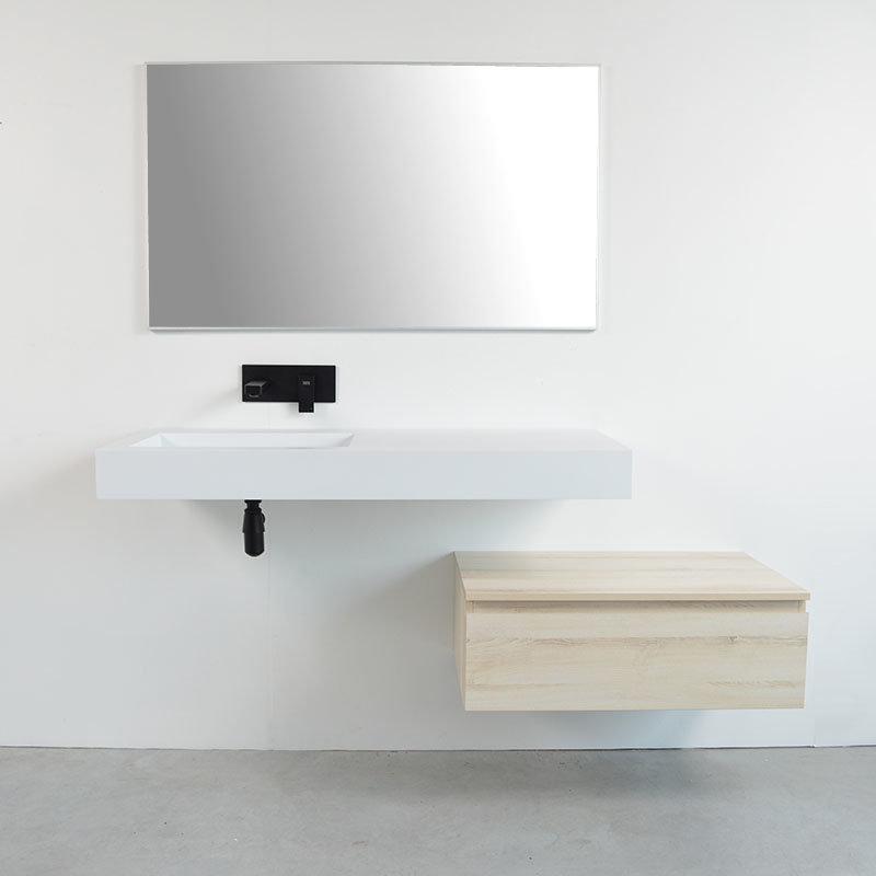 Ensemble meuble salle bain d cal avec vasque suspendue gauche - Meubles blancs vieillis ...