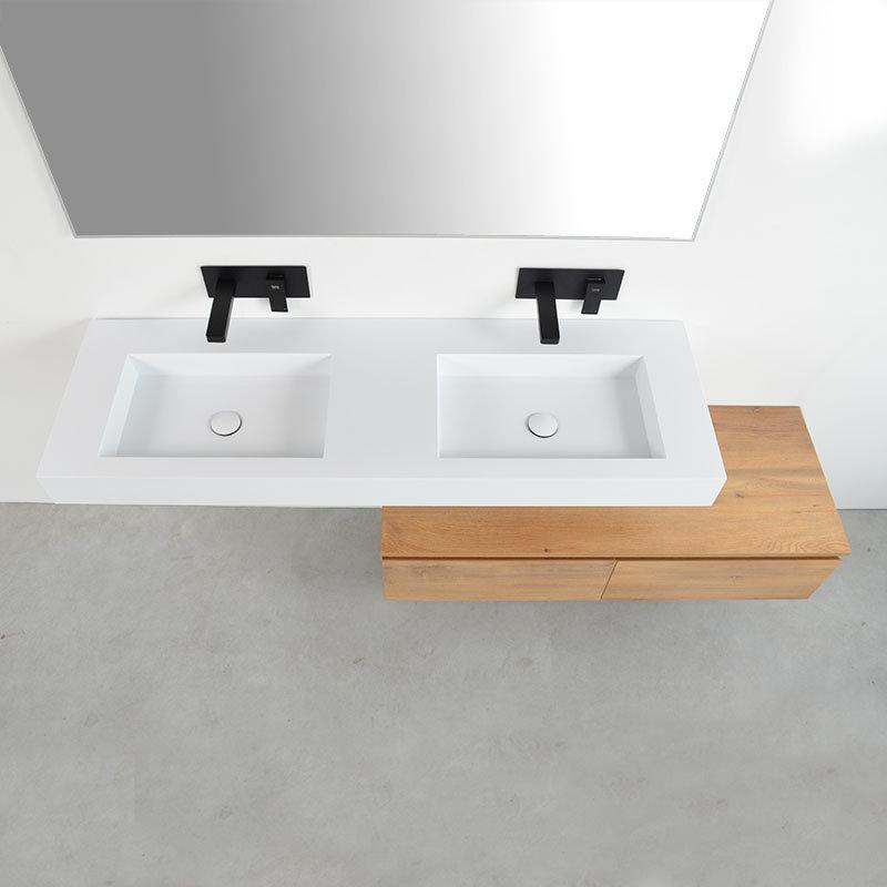 Grand Plan Double Vasque Suspendu 150 Cm Avec Meuble Bas Chêne