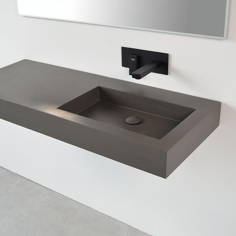 plan vasque suspendu charge min ral en gris noir et blanc. Black Bedroom Furniture Sets. Home Design Ideas