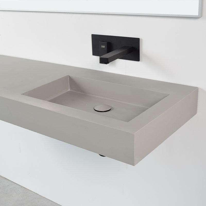 vasque a suspendre 2 plan vasque suspendu gris beton