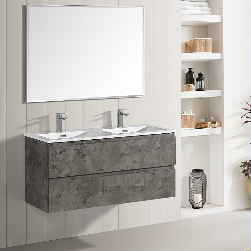 Meuble de salle de bain double vasque Soho béton ciré 120 cm