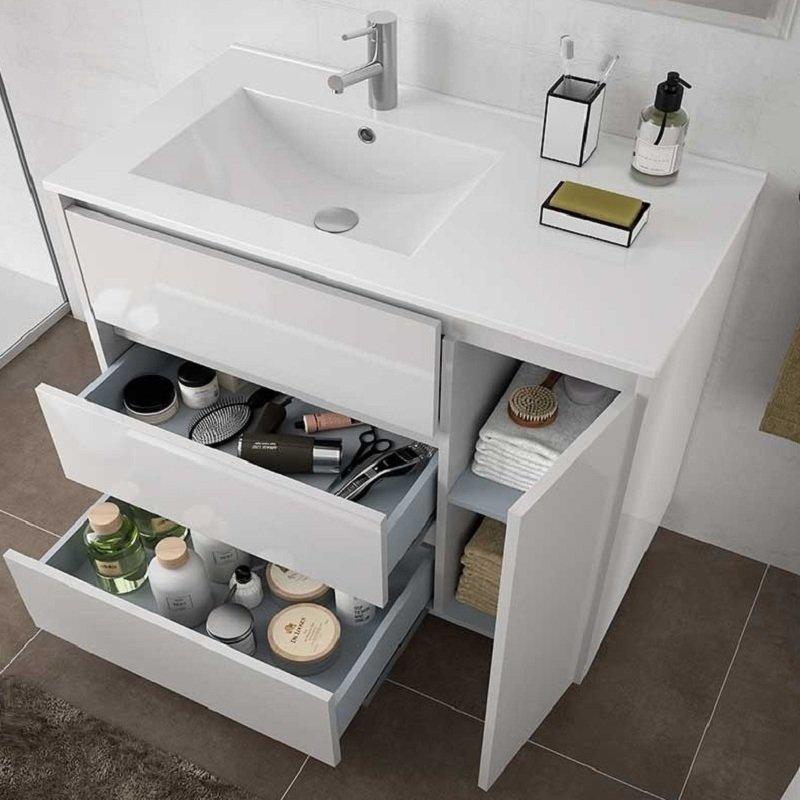 Meuble Salle De Bain Simple Vasque A Poser Sur Pied 85 Cm