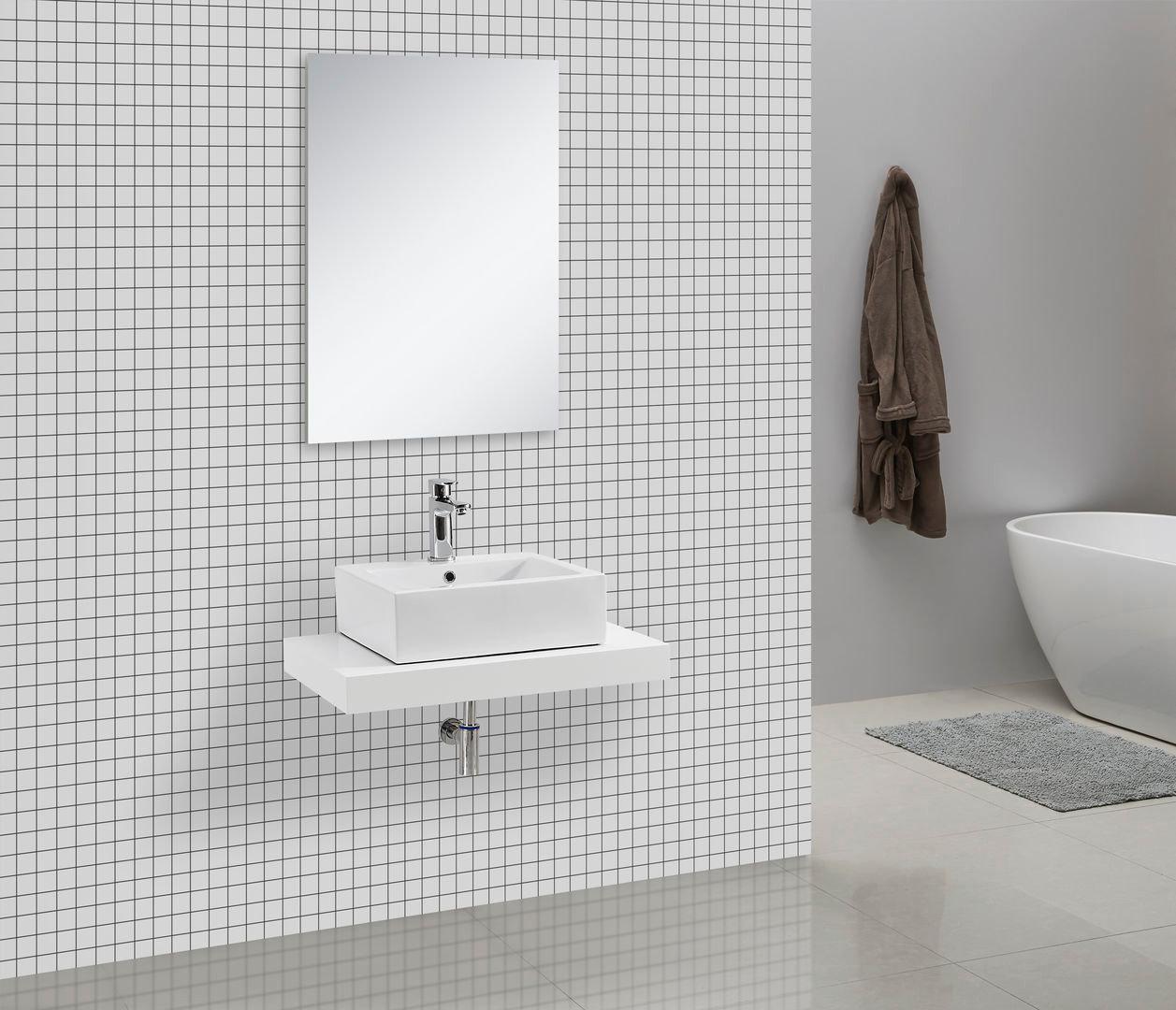 plan de travail salle de bain pour vasque en couleur blanc laque pas cher. Black Bedroom Furniture Sets. Home Design Ideas