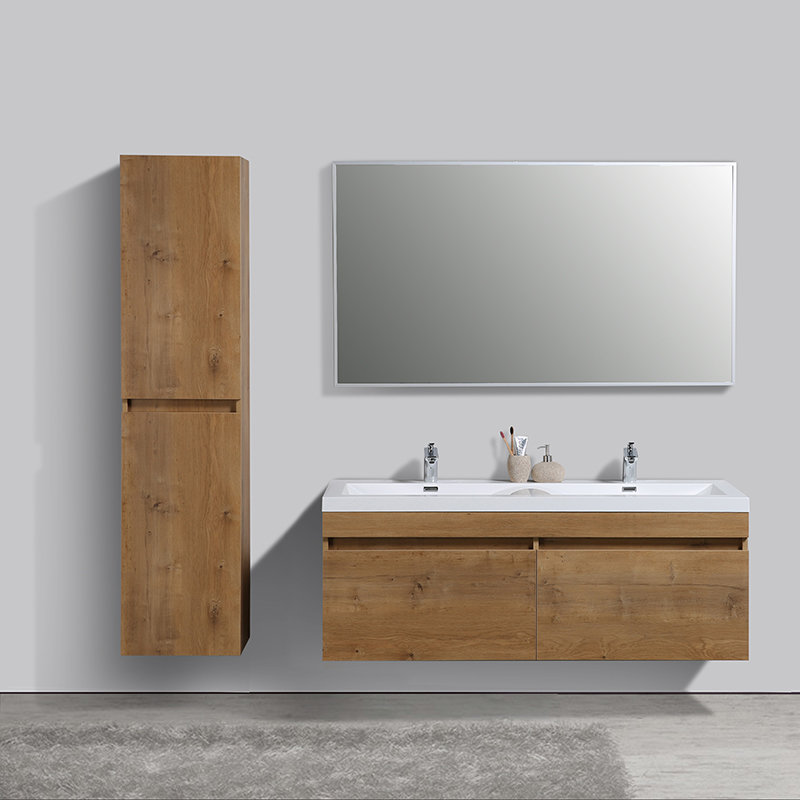 vasque et meuble Meuble de salle de bain double vasque chene clair