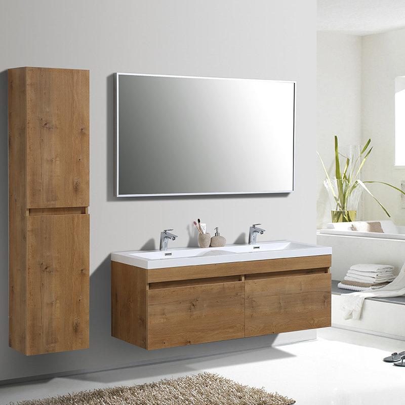 Armoire de toilette en bois naturel suspendue 4 compartiments - Meuble salle de bain bois suspendu ...