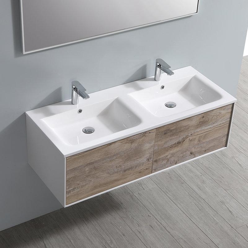 Meuble de salle de bain suspendu Drek avec 2 grands tiroirs