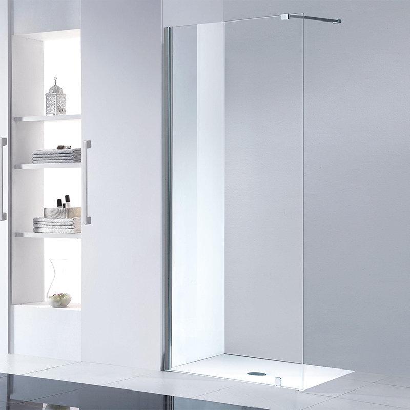 paroi fixe 110 cm adaptable en aluminium chrom anti calcaire. Black Bedroom Furniture Sets. Home Design Ideas
