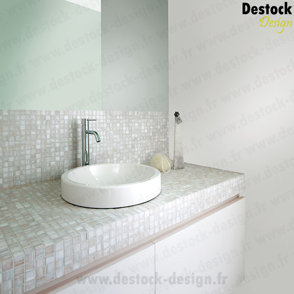 Mosa que blanche nacr dor e pour salle de bain l 39 italienne for Salle de bain annee 30