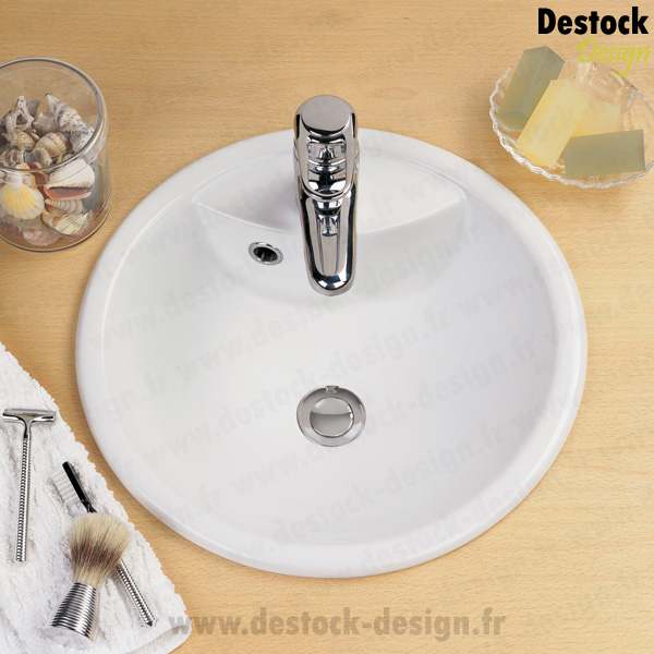vasque blanche ronde 40cm en porcelaine vasques encastrables. Black Bedroom Furniture Sets. Home Design Ideas