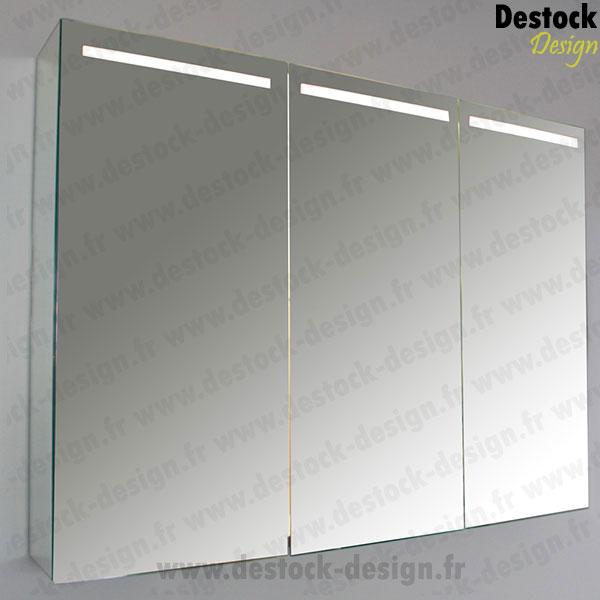 Meuble Salle De Bain Design : Découvrez notre superbe armoire miroir trois portes à éclairage LED …