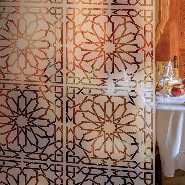 Adhesif autocollant au motif oriental pour espace douche et bain - Carrelage adhesif douche ...