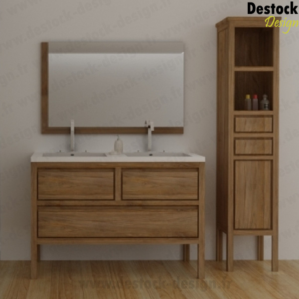 meuble salle de bain double vasque 120 cm bois