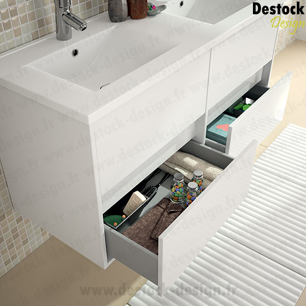 Hauteur Carrelage Salle De Bain : Meuble salle de bain NOA blanc 120 cm