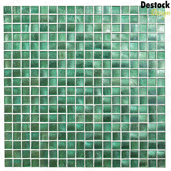 Petite mosa que de couleur vert emeraude en filet de 30 cm for Carrelage salle de bain vert