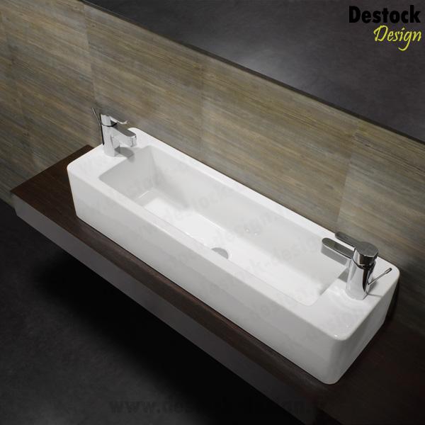 vasque en c ramique rectangulaire note 100 cm x 30 cm. Black Bedroom Furniture Sets. Home Design Ideas