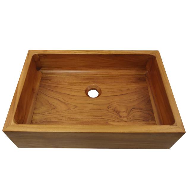 Vasque rectangulaire en bois massif nina 55 x 40 poser - Receveur douche teck ...
